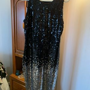 Sequined black and silver dress